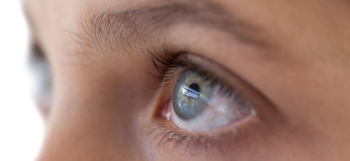 Close up of girl's eyes in profile