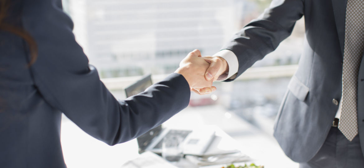 Business people shaking hands in sunny office