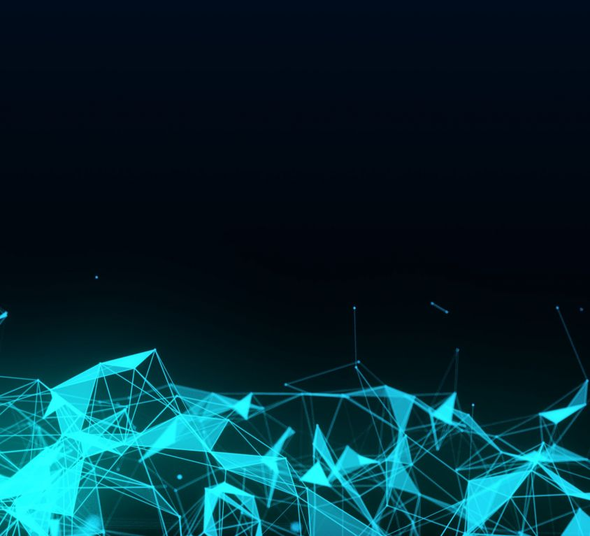 Abstract futuristic illustration of polygonal surface with connecting dots